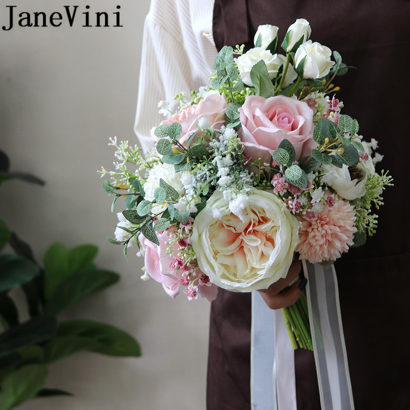 JaneVini 2020 Pink Flower Bridal Bouquets Romantic Bride Hand Holding Fake Artificial Flowers White Rose Wedding Bouquet Charm