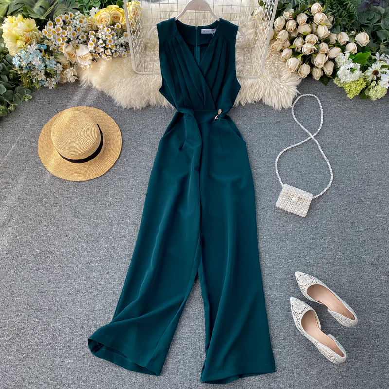 V Neck 2020 Sexy Slim Office Rompers  Summer Full Length Jumpsuit Casual Women High Waist Elegant Playsuit Tank Beach Romper