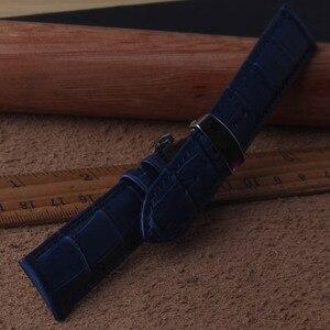 Image 2 - 15 millimetri 16 millimetri 17 millimetri 18 millimetri 19 millimetri 20 millimetri 21 millimetri 22 millimetri 23 millimetri NEW Mens di alta qualità Del Cuoio Genuino Blu Croco Grano Watch Band Cinturini fold chiusura