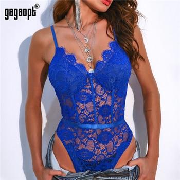Gagaopt 2020 Hollow Out Sexy V-Neck Lace Bodysuit Sleeveless One Piece Body Feminino Romantic Sheer Teddy Fashion Bodysuit 1