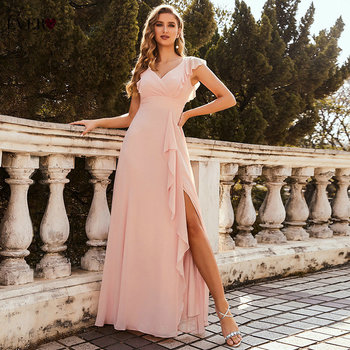 Pink Prom Dresses For Women Summer Ever Pretty Elegant A Line V Neck Long Chiffon Ruffles Wedding Party Dress With Side Split 1