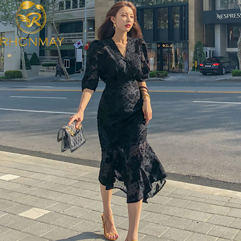 2020 Spring New Korean Style Office Ladies Midi Mermaid Dress Women Chiffon Three Quarter Sleeve Bodycon Ruffles Party Dresses