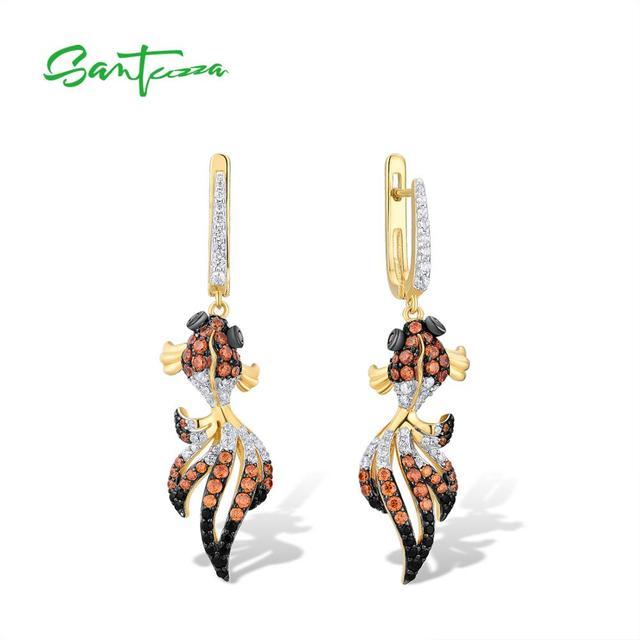 SANTUZZA Silver Gold Fish Earrings For Women 925 Sterling Silver Dangle Earrings Cubic Zirconia  brincos Jewelry