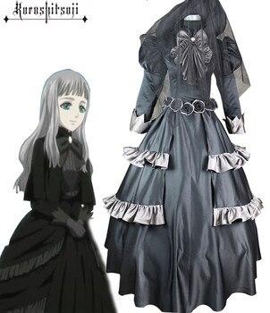 Anime negro Butler Cosplay Reina Victoria negro Lolita vestido conjunto Cos Halloween fiesta disfraz para hombres/mujeres