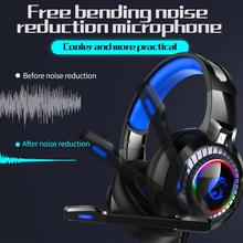 Professional Led Light Gaming Headphones for Computer Adjustable Bass Stereo PC Gamer Over Ear Wired Headset With Mic Gifts deep bass headphone stereo over ear led light gaming headband headset for pc gamer