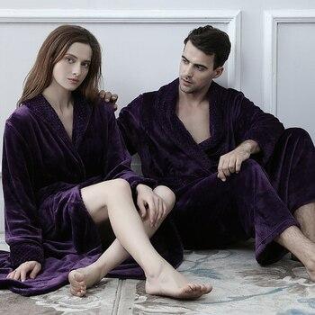 Flannel Coral Fleece Bath Robe Men Women Knitted Waffle Kimono Bathrobe Dressing Gown