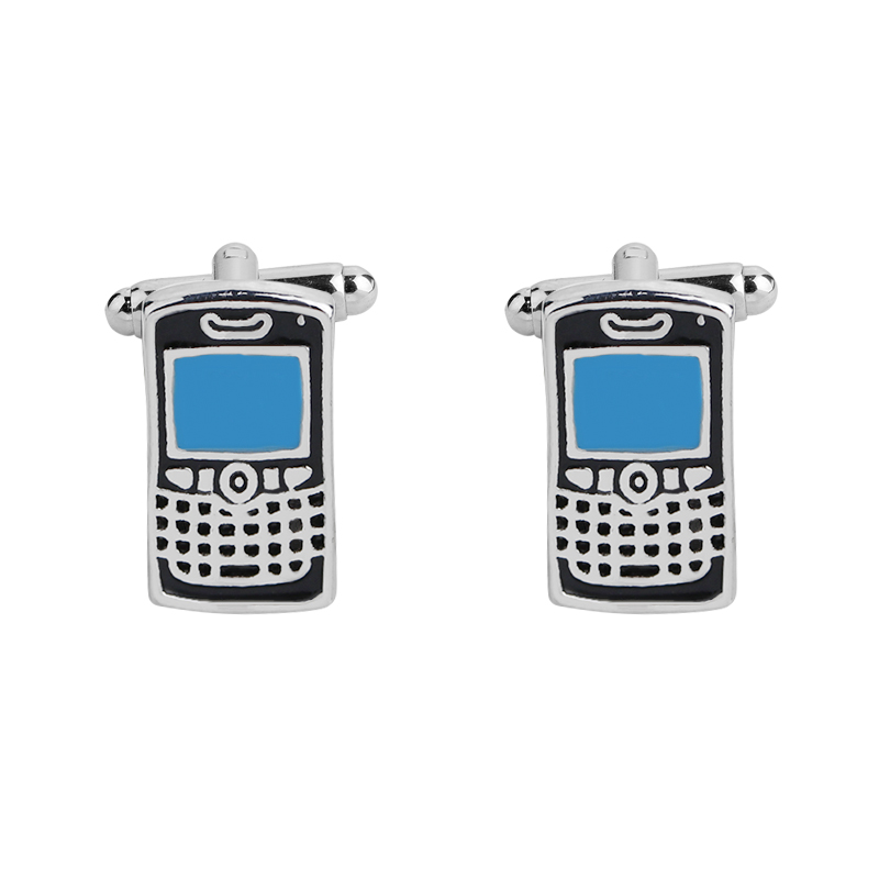 Factory Price Retail Cell Phone Cuff Links Blue Color Brass Matrial Design Free Shipping