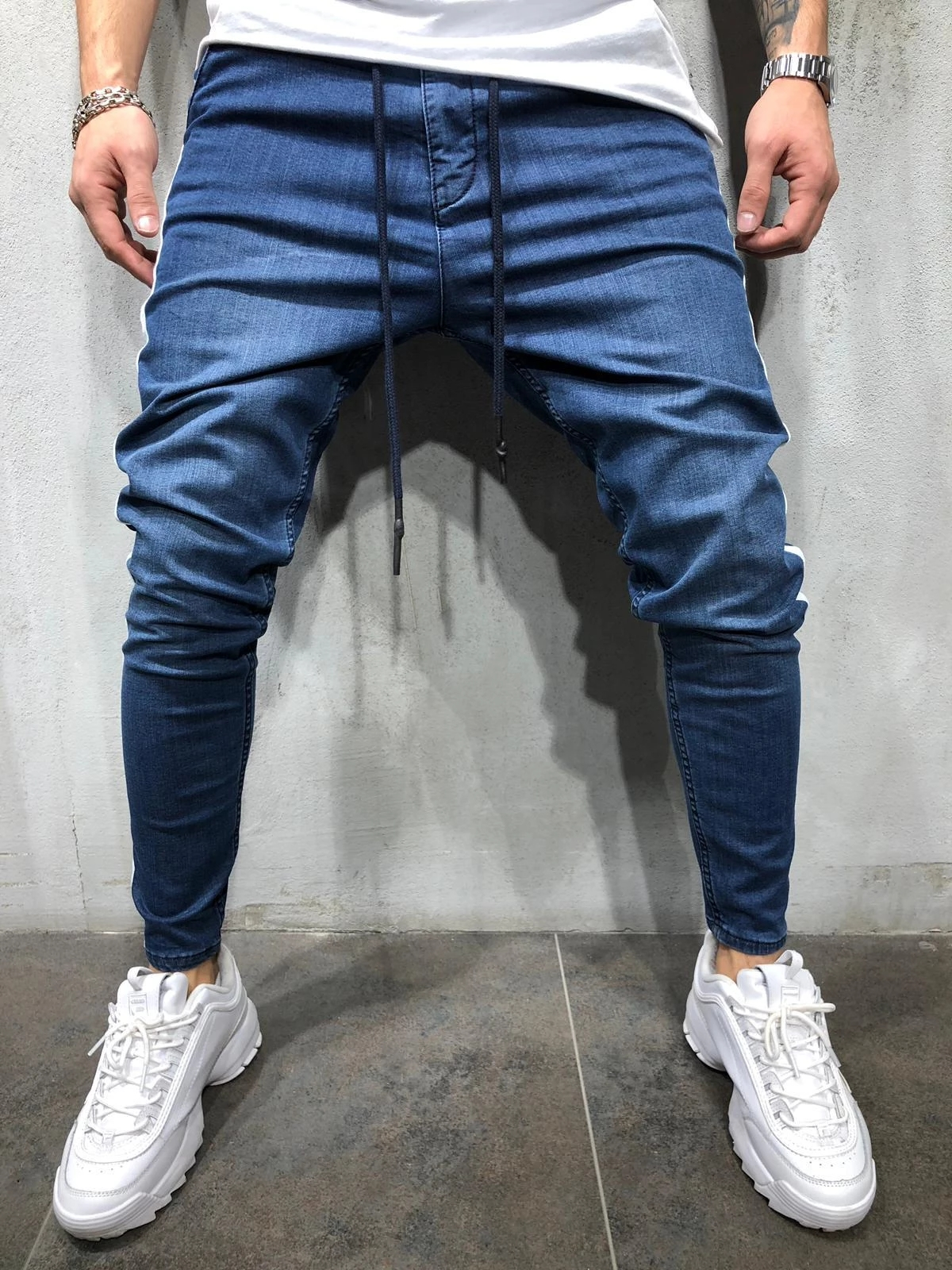 Men's Denim Fabric Casual Sports Personality Side Seam Patchwork Jeans .