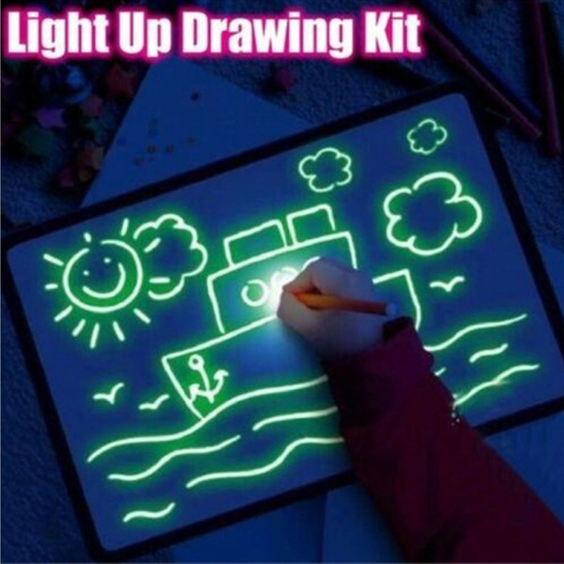 A4 Draw With Night Light In Dark Children Funny Toys Writing Magic Drawing Board Set Educational Kids English Language Version