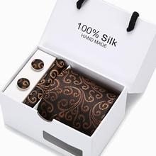 New Male Luxury Neck Tie For Men Business Print 100% Silk Tie Set With  White Box