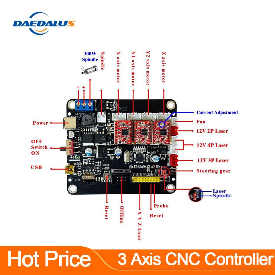 New 3-axis CNC controller Connection 300W Spindle Dual Y-axis USB Laser Board GRBL Control For 3018 1610 2418 engraving machine