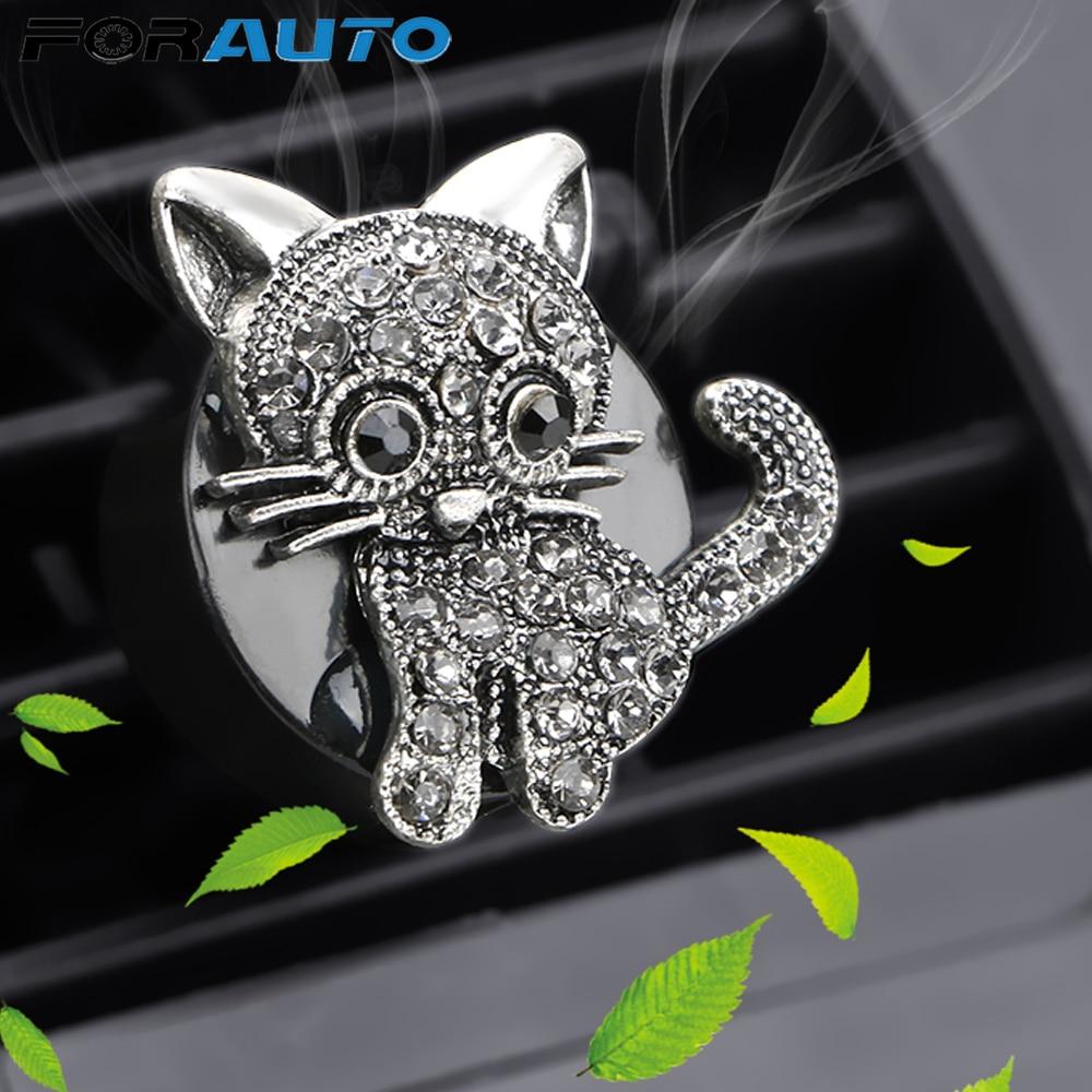 FORAUTO Auto Outlet Air Freshener Air Conditioner Adornment Clip Diamond kittens Molding Car Air Vent Perfume Car Aroma Diffuser