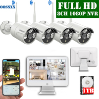 8CH 1080P Wireless NVR Kit 12' LCD display outdoor 1080P 2.0M IP Security Camera wifi cctv camera system video surveillance kit