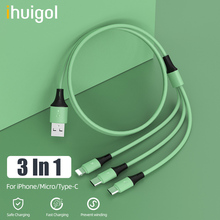 цена на ihuigol 3 in 1 USB Cable 8Pin For iPhone X 11 Pro XS Micro USB Type C For Samsung S9 S10 Huawei Xiaomi Tablet Fast Charging Cord