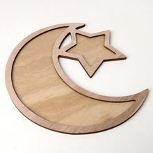 Jm01330 Wooden Eid Al-fitr Star Moon Table Decoration Dessert Tray Creative Holiday