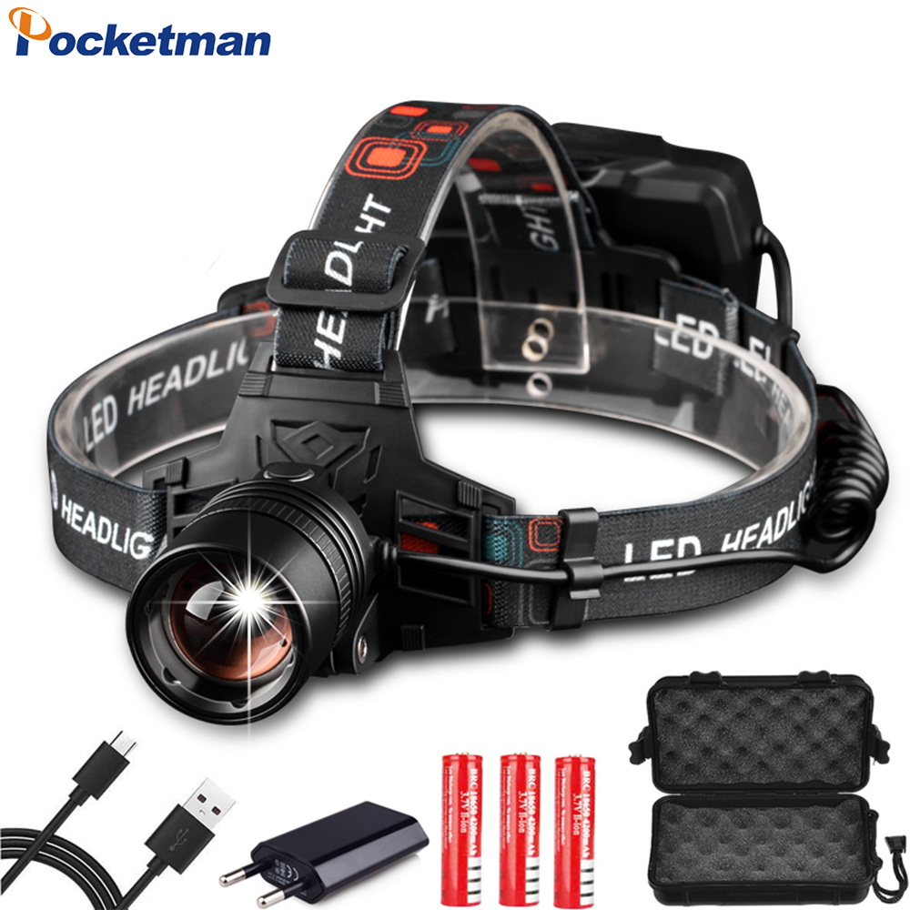 Super Powerful Headlamp USB Rechargeable Headlight XHP70 XHP50 LED Head Light Zoomable Head Lamp Waterproof Head Front Light