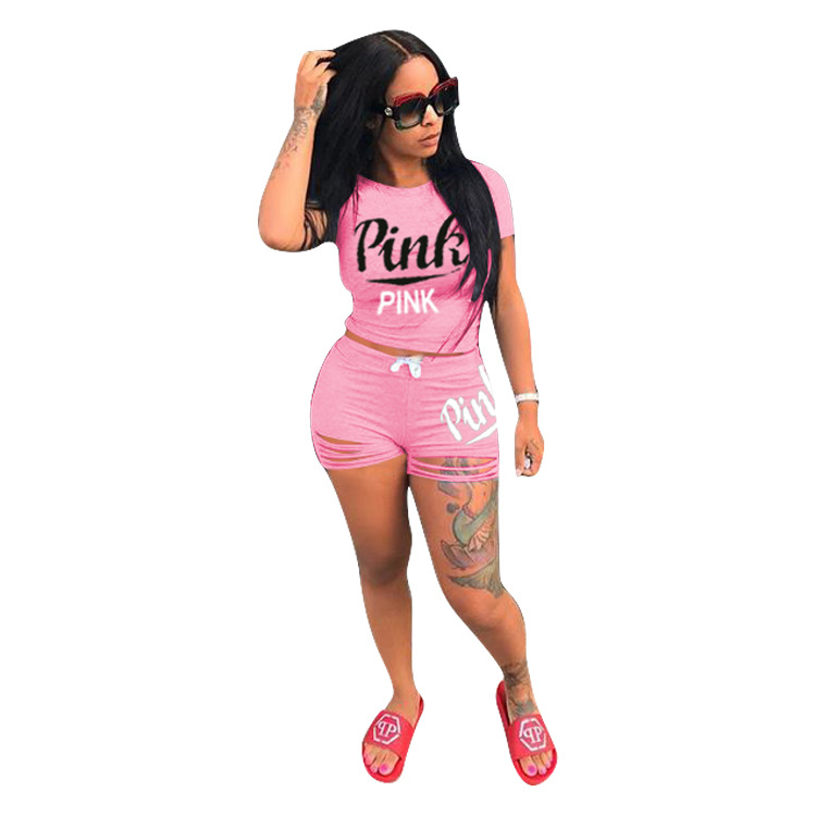 Casual PINK Letters Women 2 Piece Set Sexy Women Short Sleeve Crop Top Tee And Bodycon Hole Shorts Suits Outfits Street 2pcs