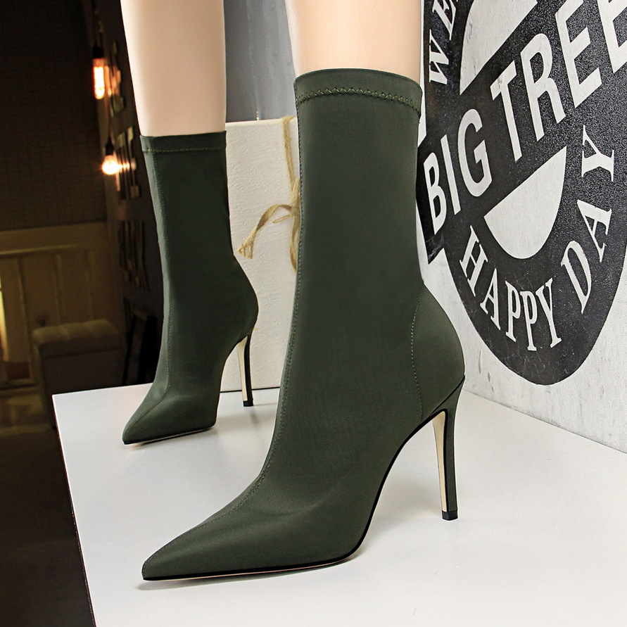 Socks Boots Woman High Heels Shoes Pointed Toe Mid Calf Boot Autumn Winter Ladies Booties Designer Zapatos De Mujer Black Green