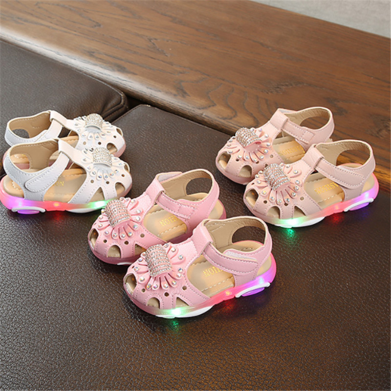 Baby Girls Shoes With Light Summer Led Toddler Kids Lighted Sandals For Girls Luminous Sandals Shoes Size 21-30