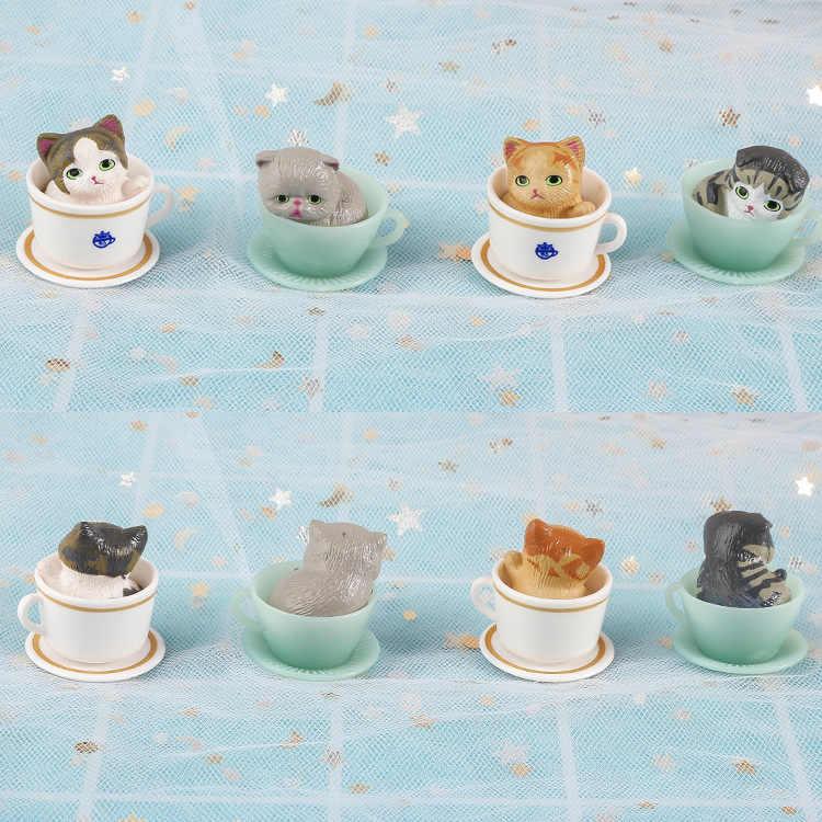 8 יח'\סט ילדי ספל תה חתול & כלב דקורטיבי פעולה דמויות ויניל בובת קישוט 3cm עם retial תיבת WJ01