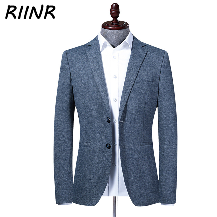 Riinr New Spring Autumn Brand Men Blazer Fashion Slim Suit Jacket Male High Quality Men's Suit Business Casual Clothing M-4XL