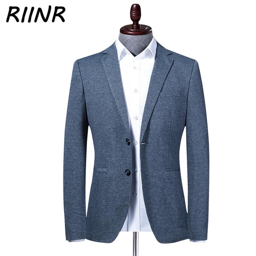 Riinr New Spring Autumn Brand Men Blazer Fashion Slim Suit Jacket Male High Quality Men's Suit Business Casual Clothing M-4XL