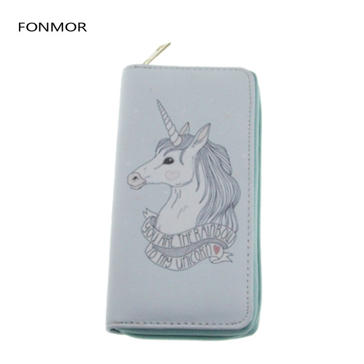 Luxury Design Women Long Wallet Cartoon Unicorn Printed Zipper Purses Female Phone Bags Passport Card Holders in Wallets from Luggage Bags