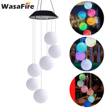 Colorful Ball Solar Powered LED Wind Chime Light Waterproof Wind Chime Outdoor Decoration Lamp For Party Yard Garden Decor