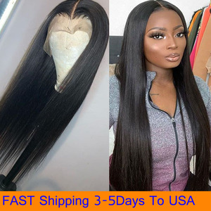 Lace Front Wigs Long Straight Synthetic Wig for Women Natural Density Black Straight Wig Heat Resistant Fiber Hair Wig Fast Ship(China)