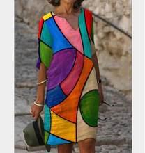 Women Printing Dress Fall 2021 Summer Half Sleeve A-Line Dresses Female Retro litera Vintage Loose Lady Dress Vestidos