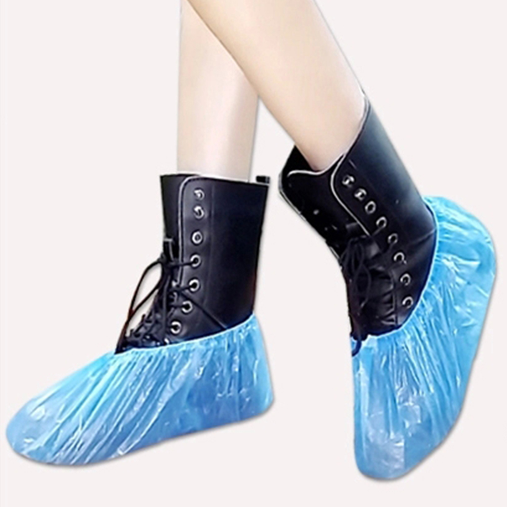 Hot Sale 100Pcs Disposable Plastic Thick Outdoor Rainy Day Carpet Cleaning Shoe Cover Blue Waterproof Shoe Covers  Shoe Cover