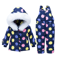 2019 Winter Children Snowsuit Kids Jacket Overalls for Girls Baby Boy Girl duck Down Parka Coat + Jumpsuit Toddler Clothing Set