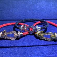 Marca de luxo na moda duplo zircon ferradura u forma casal pulseira para mulher versão original pulseira fred jóias com logotipo