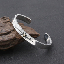 S925 Sterling Silver Jewelry Vintage Thai Silver Men and Women Takahashi Goro Point Gold Ray Simple Open Bracelet