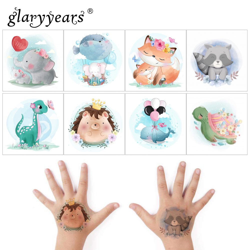 Glaryyears 1 Sheet Kids Temporary Tattoo Sticker Hot Fake Unicorn Flash Waterproof  Fashion Small Body Art For Children