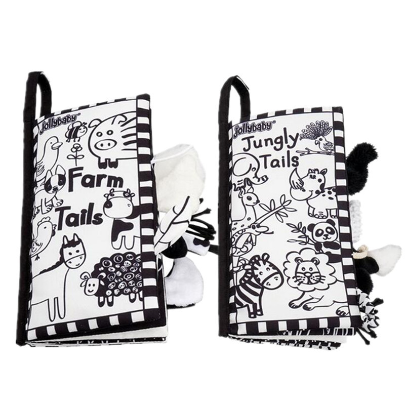 0 To 12 Months Newborn Baby Toys Infant Baby Book Early Development Cloth Books Black White Animal Tails Book SZ04