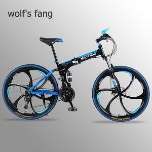 Image 1 - Wolfs fang Bicycle Folding Mountain bike 26 inch New 21 speed Road bikes Fat Snow Bike Alloy wheels bicycles Mechanical dua dis