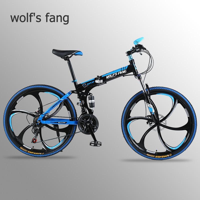 Wolf's fang Bicycle Folding Mountain bike 26 inch New 21 speed Road bikes Fat Snow Bike Alloy wheels bicycles Mechanical dua dis