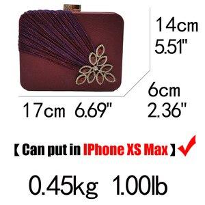 Image 5 - Boutique De FGG Wine Red Crystals Appliques Women Metal Box Clutch Evening Purses and Handbags Bridal Wedding Party Bag