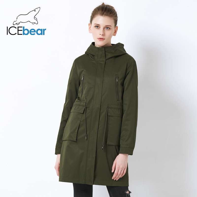 ICEbear 2019 High Quality Loose Women's Trench Coat Large Pocket Design Women's Fashion Coat Hooded Casual Coats GWF18007I