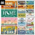 Декор Putuo, пляжный винтажный номерной знак, металлический жестяной знак, декор для летнего песчаного пляжа, паба, бара, серфинга, клуба, морск...