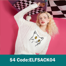 ELFSACK Cat Jacquard Korean Women Knit Pullover Sweaters,2021 Spring Vintage Minimalist,Casual Female Basic Daily Cute Top