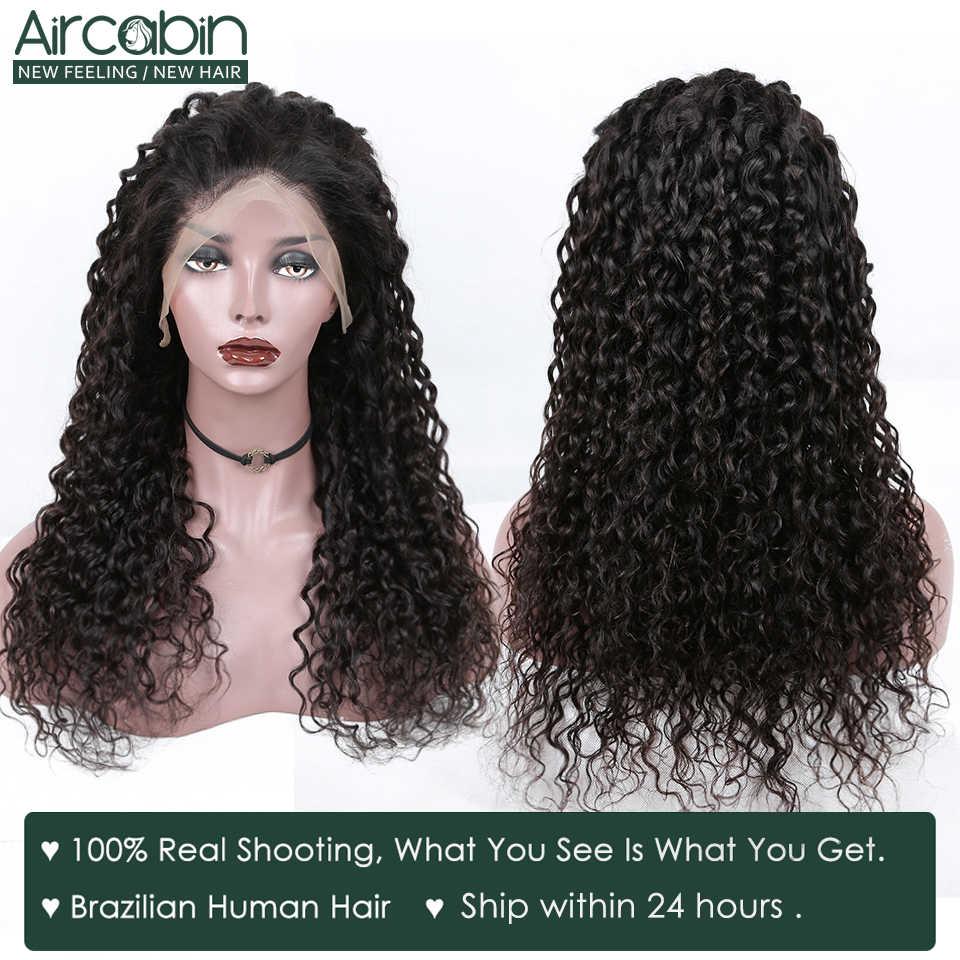 Aircabin, pelucas de pelo humano frontal de encaje 13x4, peluca de ondas de agua, pelucas de pelo humano brasileño sin pegamento con cierre de encaje para mujeres negras no Remy