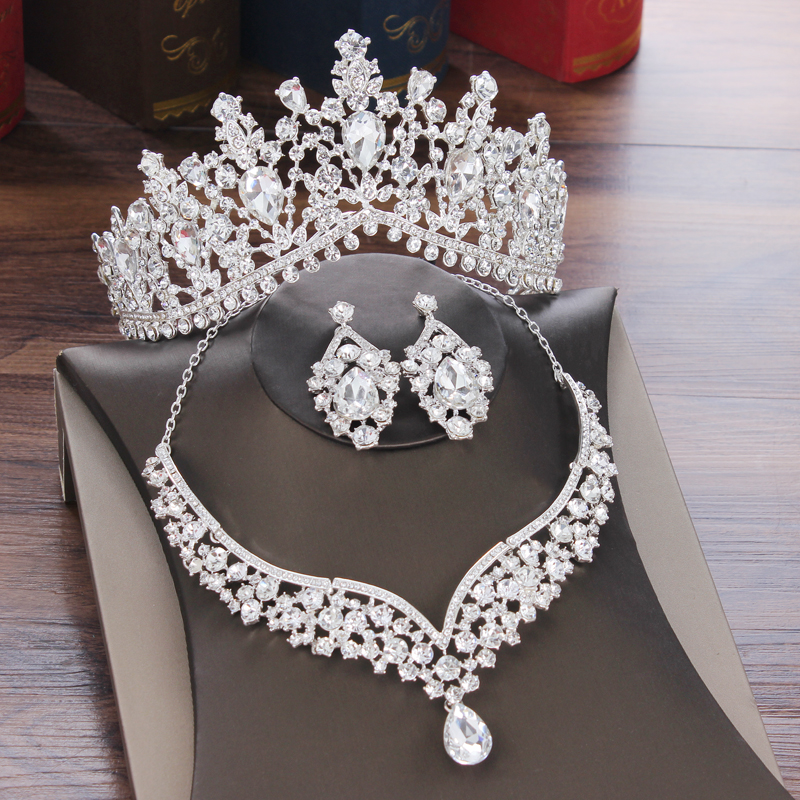 Jewelry-Sets Necklace Earrings Tiaras Crystal Crown Rhinestone Bride Wedding-Dubai Water-Drop-Bridal title=