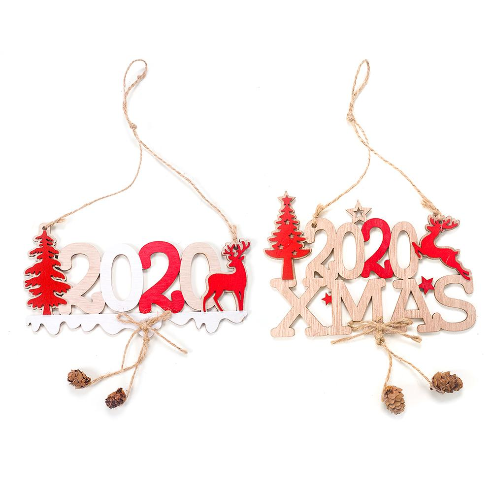 2020 Xmas Wooden Ornament Christmas Decoration Pendant New Year Home Decoration 3D 2020 Xmas Christmas Tree Hanging Ornament