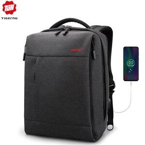 Tigernu бренд тонкий рюкзак зарядка через USB для мужчин 14 15,6 дюймов рюкзак для ноутбука женский брызгозащищенный Простой Школьный рюкзак сумка ...
