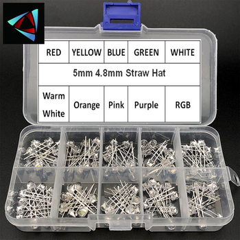 100pcs 5mm 4.8mm Straw Hat Clear Warm White Green Red Blue Purple Yellow Orange Pink RGB DIY Light Emitting Diode Set Box - discount item  5% OFF Active Components