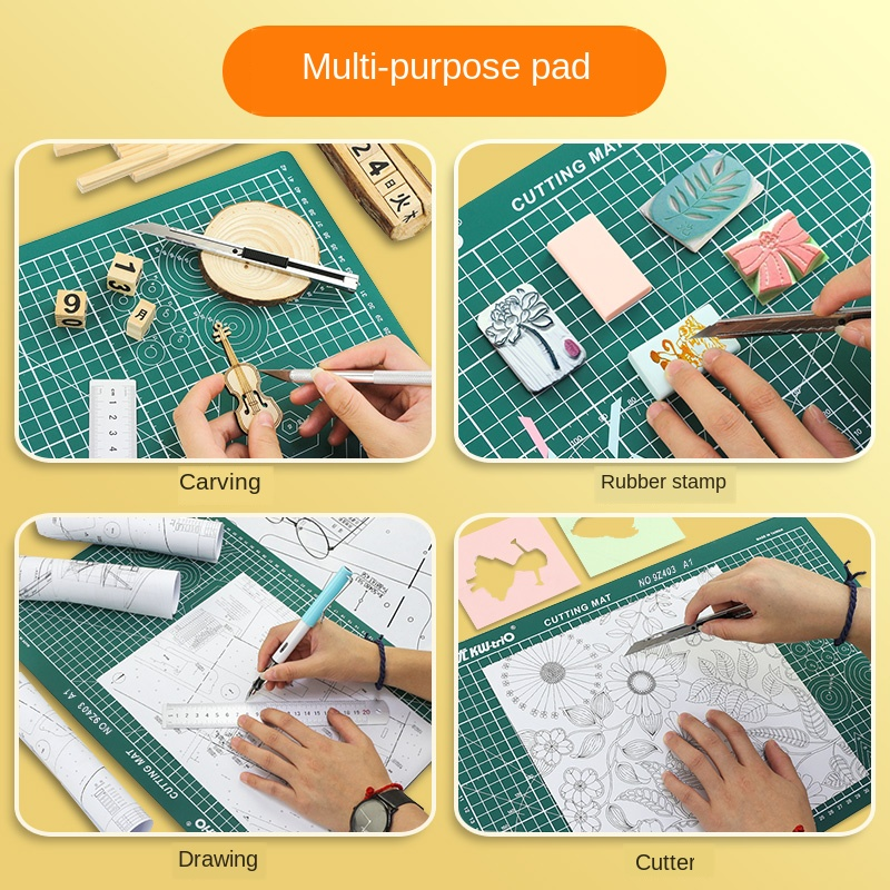 Купить с кэшбэком PVC A1 Patchwork Multipurpose Cutting Mat Self Healing Builders Double-Sided Cutting Board For Plate Engraving Modeling 60*90cm