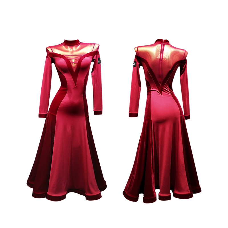 Ballroom Dress Standard Dance Dress Viennese Waltz Dress Waltz Dance Costumes Red Tango Dress Tango Costume Foxtrot Dresses