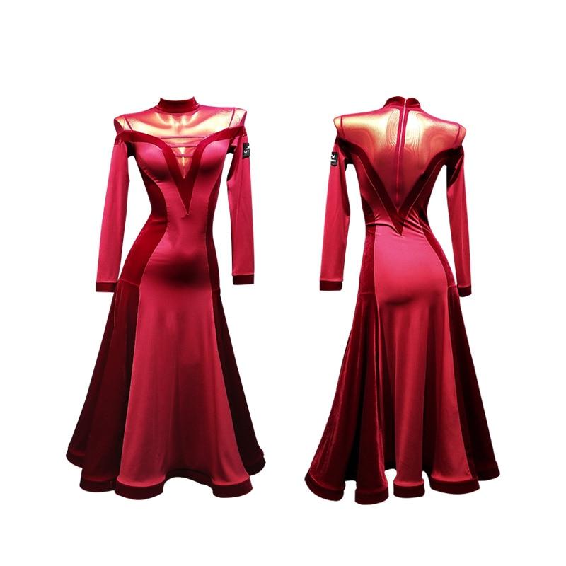 Ballroom Dress Standard Dance Dress Viennese Waltz Dress Waltz Dance Costumes Red Tango Dress Tango Costume Foxtrot Dresses